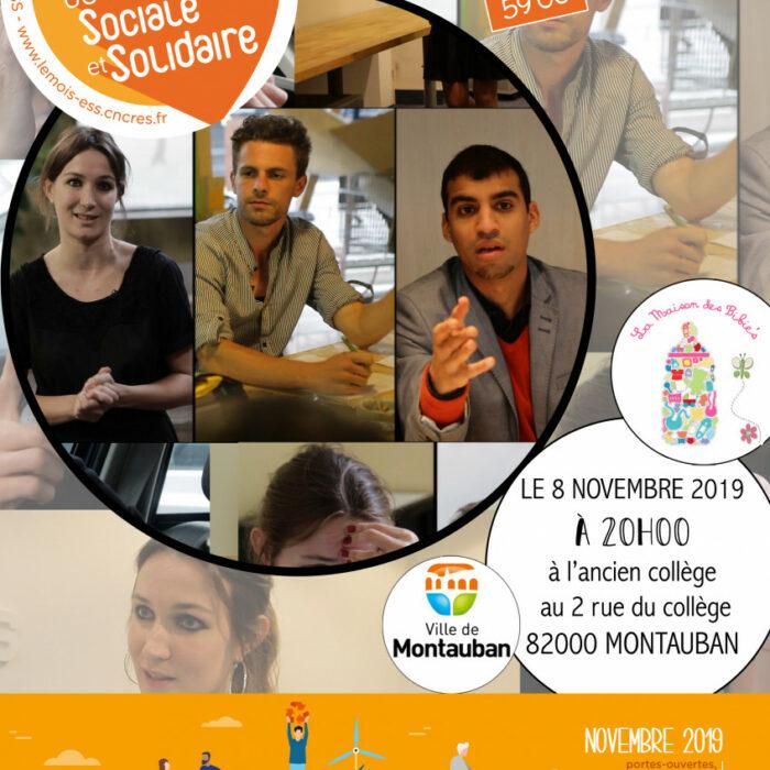 """Projection à l'ancien collège de Montauban du film """"Génération Entrepreneurs"""" pour la semaine de l'Economie sociale et solidaire."""